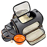 Pet Travel Carrier Bag Pet Carrier Backpack Expandable Dog Carrier, TSA Airline Approved Dog Cat Travel Carrier for Small Dogs or Cats, Soft-Sided Puppy Carrier with Foldable Bowl