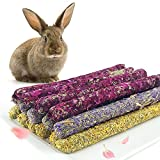 Natural Flowers Flavored Timothy Hay Sticks,Rabbit Chew Toys,Hamster Molar Snacks,100% Handmade,are Perfect Food Accessories for Bunny,Guinea Pigs,Rats,Chinchillas,Gerbils and Other Small Animals.