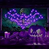 Halloween Window Lights Bat Ghost Shaped, Iron Black Frame Hanging Lights, Bat Ghost Window Silhouette Party Decoration Indoor with Remote Timer USB Operated (Purple Light, Bat Style)
