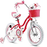 Royalbaby Stargirl Girls Bike with Training Wheels and Basket, Best Gifts for Girls. Blue, Red, 12',14', 16' Avaliable (Red, 16 Inch)