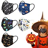 Kids Disposable Face Masks with Colorful Happy Halloween Holiday Print Design Decorations,Pumpkin,Ghost,3 PLY Scary Skull Breathable Safety Masquerade Colored Cosplay Black Mask for girls boys,50 Pack