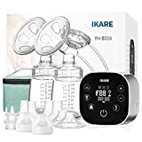 IKARE Upgraded Double Breast Pumps Electric, Portable Hospital Grade Milk Pump with Comfortable 120 Levels Free-Style, Quiet Rechargeable Breastfeeding Pump (Black)