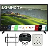 LG 60UM6900 60-inch HDR 4K UHD Smart LED TV (2019) Bundle with Deco Mount Flat Wall Mount Kit, Deco Gear Wireless Backlit Keyboard and 6-Outlet Surge Adapter with Night Light
