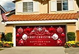 Outdoor Christmas Holiday Garage Door Banner Cover Mural Décoration 7'x16' - Red Ornaments in Snow Outdoor Christmas Holiday Garage Door Banner Décor Sign 7'x16'