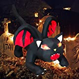 Halloween Inflatable Decorations, SFENNGPET 5FT Halloween Christmas Inflatable Dragon Cat with Crimson Cape Red Light Eyes Blow Up Inflatables for Halloween Party Indoor Outdoor Yard Lawn Decorations