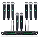 Wireless Microphone System, Phenyx Pro 8-Channel UHF Cordless Mic Set with Eight Handheld Mics, Fixed Frequency, All Metal Build, Long Range 260ft, Ideal for Karaoke,Church,Events (PTU-4000A)