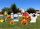 JOYIN 9 Pcs Halloween Outdoor Decorations, Corrugate Yard Stake Signs for Lawn Yard Prop Decorations, Trick-or-Treating, Outdoor/Indoor Décor