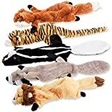 Dog Squeaky Toys, No Stuffing Plush Chew Toy for Small Medium Dogs Puppy Aggressive Chewers Large Breed, 5 Pack Cute Animal Raccoon Squirrel Tiger Fox and Lion, Tough Durable Teething Interactive Gift
