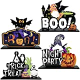 Jongdari Halloween Table Decorations 4pcs Wooden Happy Halloween Pumpkin Table Centerpieces Boo Sign Trick or Treat Table Toppers for Halloween Party Decor