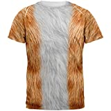 Halloween Orange Cat Costume All Over Adult T-Shirt - Small
