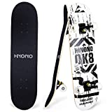 """ToyerBee Skateboard, Skateboards for Beginners, Kids & Adults, Standard Skateboard 31"""" with Repair Kit for Teens / Boys / Girls, 9 Layer Canadian Maple Double Kick Pro Skateboard for Sports & Outdoors"""