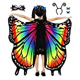 Butterfly Wings for Girls, Rainbow Halloween Costumes, Kids Fairy Shawl with Mask, Antenna Headband, Butterfly Head Clips