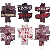 Decorlife 6 PCS Halloween Yard Signs, Halloween Signs Outdoor 16' x 10', Beware Warning Scary Halloween Decorations for Lawn Yard Decorations, Trick or Treating