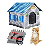 Toozey Heated Cat House for Winter, Indoor/Outdoor Cat House Weatherproof with Cat Heated Pad, Providing Safe Feral Cat House for Cats or Small Dog, Easy to Assemble Cat Shelter