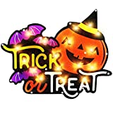 ALLADINBOX 17'' Prelit Halloween Decorations Window Silhouette Holiday Display - Trick or Treat with Pumpkin and Bats - Hanging/Tabletop Light Up Halloween Ornament (Battery not Included)