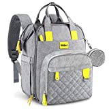 Diaper Bag Backpack, Large Unisex Baby Bags Waterproof Travel Bag Backpack with Changing Pad, Insulated Pockets, Stroller Straps and Pacifier Case for Moms and Dads, Gray