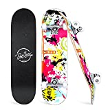 Beleev Skateboards for Beginners, 31 Inch Complete Skateboard for Kids Teens Adults, 7 Layer Canadian Maple Double Kick Deck Concave Cruiser Trick Skateboard (Pink)
