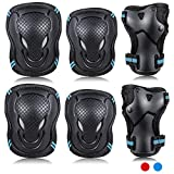 Labeol Kids Skateboard Pads Elbow and Knee Pads Wrist Guard Protector 6 in 1 Protective Gear Set Ice Roller Skating Cycling Riding Scooter Skateboard Bicycle Inline Skating (Black and Blue, Medium)