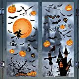 Halloween Window Clings 46Pcs, Double-Sided Halloween Window Stickers Spider Bat Spooky Pumpkin Witch Decals Happy Halloween Window Decorations for Party Glass