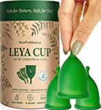 Menstrual Cups Set of 3 Medical Grade Silicone Reusable Period Cup - Disposable Easy to Insert & Remove Tampon & Pad Alternative - Light to Heavy Flow - Latex and BPA Free Menstrual Cup by Leya
