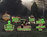 PHRIXUS Halloween Decorations Yard Signs Stakes, 6 Pack Warning Signs Beware Signs Yard Fluorescence, Outdoor Lawn Decor for Haunted House, Creepy Sidewalk Scary Theme Party