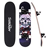 Skateboards for Beginners 31 x 8 Inch,Soldow Complete Skateboard for Kids/ Teens/ Adults, 7 Layer Canadian Maple Longboard Double Kick Concave Standard Trick Skateboards for Boys and Girls