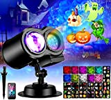 eletecpro Halloween Projector Light Ocean Wave with 16 Slides Patterns 10 Colors, Party Decorative Lights Display with Remote Control, Waterproof Outdoor Indoor Holiday Light(Black)