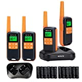 Retevis RT49 Walkie Talkie Adult Rechargeable,IP65 Water Resistant Two Way Radio Long Range,NOAA Weather Alert AA Battery Flashlight,2 Way Radio for Outdoor Cruise Camping(4 Pack)