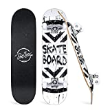 Beleev Skateboards for Beginners, 31 Inch Complete Skateboard for Kids Teens Adults, 7 Layer Canadian Maple Double Kick Deck Concave Cruiser Trick Skateboard (White)