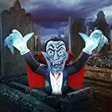 GOOSH 6.8 FT Length Halloween Inflatables Outdoor Vampire with Red Cloak, Blow Up Yard Decoration Clearae with LED Lights Built-in for Holiday/Party/Yard/Garden