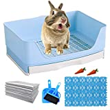 Hamiledyi Large Rabbit Litter Box Trainer, Pet Litter Pan Trainer with Drawer Corner Bigger Pet Pan Rabbit Cage Mat Toilet Box for Bunny,Adult Guinea Pigs Chinchilla Ferret Hedgehog Small Animals