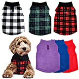 6 Pieces Dog Clothes Dog Sweater with Leash Ring Soft Winter Pet Clothes Warm Dog Sweatshirt PET Fleece Sweater Vest Dog Cozy Jacket for Dogs Supplies (Large)