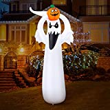 OMBAR 6 FT Halloween Inflatables Scary Ghost Yard Decoration, Built-in Orange LED Lights with Pumpkin, Blow up Decor for Party, Indoor, Outdoor, Yard, Holiday