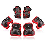Kids/Youth Knee Pad Elbow Pads Guards Protective Gear Set for Roller Skates Cycling BMX Bike Skateboard Inline Skatings Scooter Riding Sports (Black / Red, Medium(9-15 years))