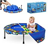 smarTrike Toddler Trampoline with Handle Ages 1-5 Years, Foldable Trampoline for Kids, Indoor Baby Foldable Trampoline with Ball Pit, Kids Trampoline (Trampoline & Ball Pit, Blue)