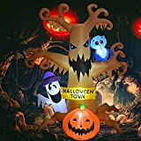 GOOSH 8 FT Halloween Inflatables Outdoor Dead Tree with White Ghost, Pumpkin and Owl, Blow Up Yard Decoration Clearance with LED Lights Built-in for Holiday/Party/Yard/Garden
