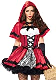Leg Avenue 2 Piece Gothic Riding Costume Set-Sexy Hooded Cape and Peasant Dress for Women, Red/White, Small