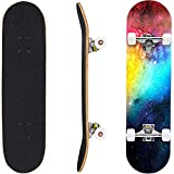 Geelife Pro Complete Skateboards for Beginners Adults Youths Teens Kids Girls Boys 31'x8' Skate Boards 7 Layers Deck Maple Wood Longboards (Nebulae)