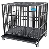 PARPET 42 Inch Heavy Duty Empire Dog Crate Strong Metal Pet Kennel Cage with Removable Wheels/Steel Tray, Large