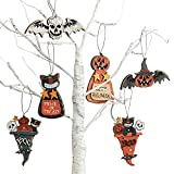 Halloween Decorations for Indoor, Halloween Hanging Tree Ornaments Including Black Cat/Pumkin Monster/Skull/Bat, for Home/Farmhouse/Holiday Christmas Party Decor, Kid's Gifts -Imitation Old, Wooden.