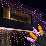 RECESKY 100 LED Halloween Icicle Lights - 7.7ft Purple Orange Curtain String Lights with 30v Plug in for Outdoor Garden House Window Decor - Extendable Halloween Lighting, Halloween Party Decorations