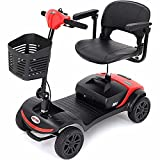 4 Wheel Electric Mobility Scooter - Max Speed 5 Mph, Max Load 265lbs Wheelchair Device for Travel, Adults, Elderly - Foldable Tiller