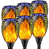 6-Pack Larger Size Solar Torch Light with Flickering Flame, Super Bright Solar Halloween Lights Outdoor, Waterproof Halloween Decorations Outdoor for Garden Pathway Party