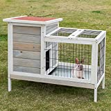 Scurrty Wooden Rabbit Hutch for Outdoor Indoor with 2 Story Bunny Cage Pet House for Guinea Pig Chick Hamster