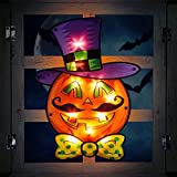 Halloween Decoration Pumpkin Lights - 12 x 16 Inch Vintage Lighted Up Pumpkin Window Silhouette with Orange Lights for Indoor Outdoor Wall Door Fireplace Holiday Theme Ornament