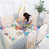 Uanlauo Foldable Baby Playpen Safety Play Yard for Toddler, Kids Activity Centre Indoor or Outdoor(14 Panel) (Grey, 14 Panel)