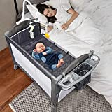 BANIROMAY 5 in 1 Baby Bassinet Beside Sleeper, Baby Travel Crib with Mattress, Adjustable Portable Baby Bed for Newborn Boys Girls