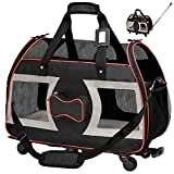 """WPS Airline Approved Pet Carrier with Wheels for Small Dogs and Cats - Removable Fleece Bed, Soft Sided, Mesh Windows, Leash Clip, Handle, Carrying Strap - Bone Design – 11""""x22""""x16"""