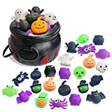 5.5' Halloween Cauldron with 24 Pcs Squeeze Fidget Toys ,Mini Kawaii Mochi Squishy Toy Stress Reliever Anxiety Packs for Kid Party Favors,Halloween Miniatures,Halloween Party Decorations