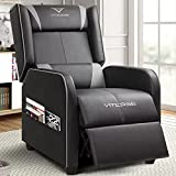 Vitesse Gaming Recliner Chair Racing Style Single Ergonomic Lounge Sofa Modern PU Leather Reclining Home Theater Seat for Living Gaming Room (Grey)